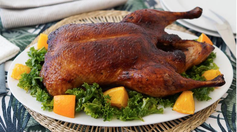Pato a la naranja al horno